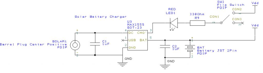 5V Solar Lithum Polymer charging circuit.