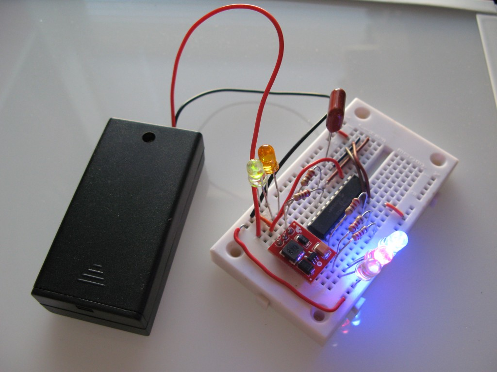 Multi-Color LED breadboard for evil pumpkin.