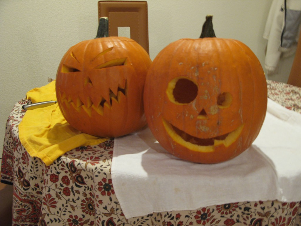 Evil pumpkin, and friend.